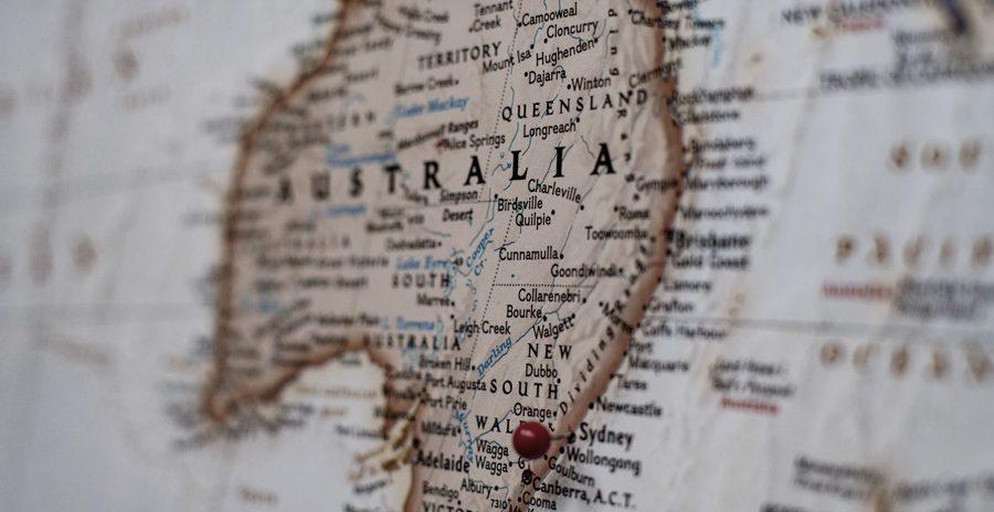 mapa antigo da Austrália
